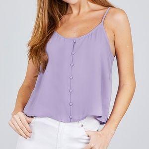Front Button Cami Top lavender